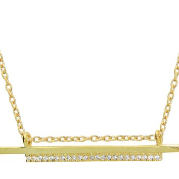 """Double Sideways Cz Flashbar Necklace in Gold Plated Sterling Silver, 15.5"""" + 2"""" Extender"""