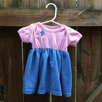Baby Girl Onesuit Dress, 3-6 month Pink & Blue Tshirt Upcycle