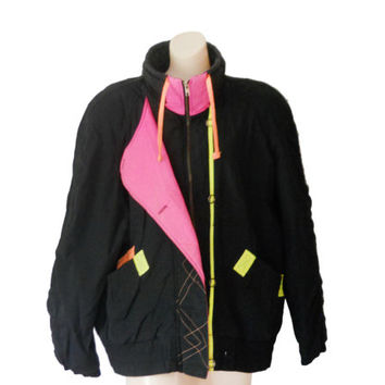 80s Neon Jacket Puffy Jacket Puff Jacket Puffer Jacket Black Winter Jacket Hot Pink Jacket 90s Jacket Women Winter Jacket 80s Ski Jacket