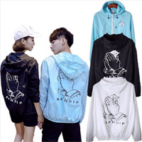 Ripndip Lover Fashion Print Zipper Hooded Sport Cardigan Jacket Coat Windbreaker