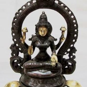 Brass Lakshmi (Laxmi) With 5 Diva Statue From India 11 Inch