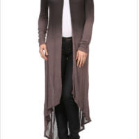 Long Cardigan Ombre Sweater With Lace Back