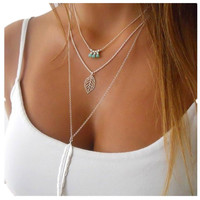 YAN & LEI Hot Sale Silver Women Multilayer Irregular Pendant Chain Statement Necklace