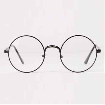 cb53f7a3a4c Fashion Retro Round Circle Metal Frame Eyeglasses Clear Lens Eye