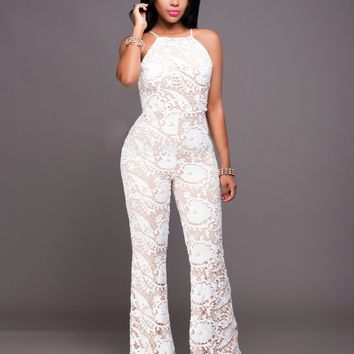 Overal Lace White Jumpsuit