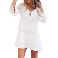 Boho Style Loose Women's Dresses   Three Quarter Sleeve Lace Beach Short Mini Dress Women Vestidos #23 BL