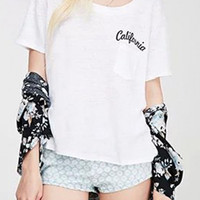 White California Print Single Pocket T-Shirt