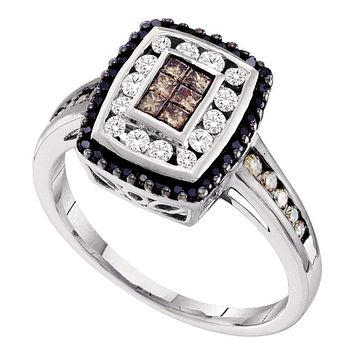 14kt White Gold Women's Princess Cognac-brown Black Color Enhanced Diamond Rectangle Cluster Ring 1/2 Cttw - FREE Shipping (US/CAN)