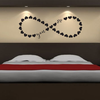 Infinity Sign Symbol Hearts You and Me Vinyl Wall Words Decal Sticker Graphic