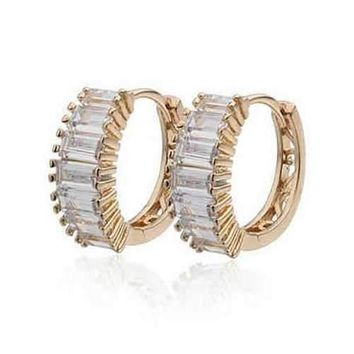 Shiny Baguettes Hoop Earrings in Baguette stones in White Gold