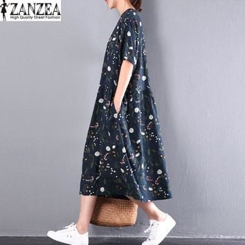 ZANZEA Summer Womens Vintage O Neck Short Sleeve Floral Print Kaftan Pockets Party Casual Dress Beach Long Dress Vestido L-5XL