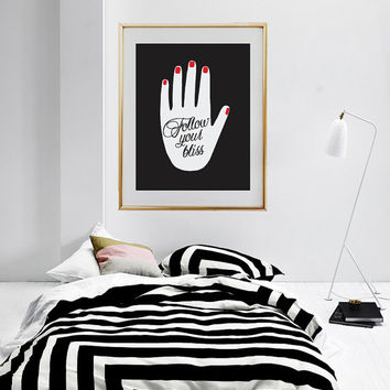 "Abstract Hand Poster ""Follow Your Bliss, Fashion Poster, Home Decor, Abstract Art, Modern Decor, Modern Print, Fashion Decor, Fashion Art."