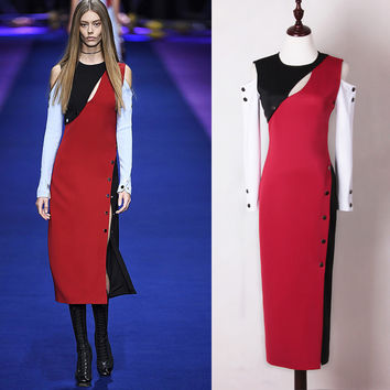 High Quality S-4XL 2017 Spring Summer New Sexy Fashion Leisure Women Dress Strapless Color Stitching Slim Stretch Plus Size