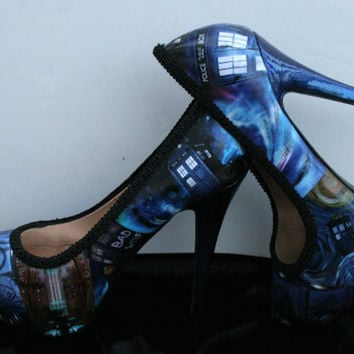 Tardis Heels Tardis Shoes Doctor Who Heels Doctor Who Shoes Wedding Heels Wedding Shoes Decoupage Heels Decoupage Shoes