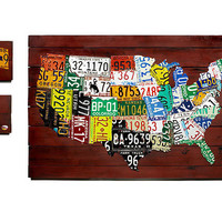 RECLAIMED LICENSE PLATE MAP | Decorative US License Plate Map Features Authentic American Plates Carved into State Shapes Mounted on Wood | UncommonGoods