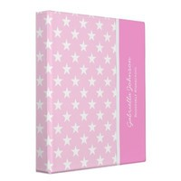 Personalized: Lite Pink With White Stars Binder from Zazzle.com