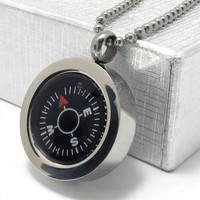 Men's Titanium Steel Compass Pendant Necklace