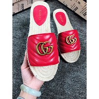 GUCCI New fashion leather weave high quality slippers shoes women Red