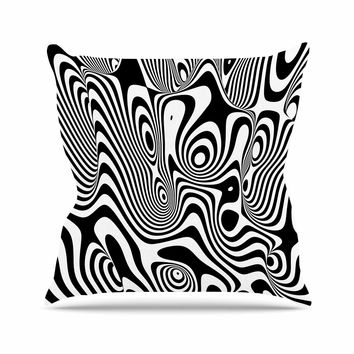 "Danny Ivan ""Trippy"" Black White Outdoor Throw Pillow"