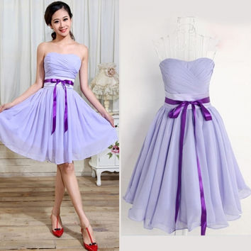 Purple Short Mini Women Bridesmaid Dress Evening Cocktail Party Prom Ball Gown