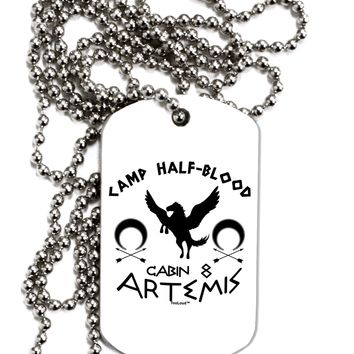 Camp Half Blood Cabin 8 Artemis Adult Dog Tag Chain Necklace by TooLoud