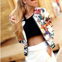 Hot Sale Winter Print Three-quarter Sleeve Jacket [4966040836]