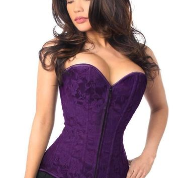 Daisy Corsets Lavish Dark Purple Lace Overbust Corset w/Zipper