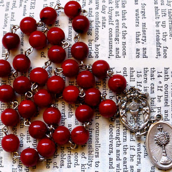 Chaplet of the Blessed Sacrament - Red, Bamboo Coral, Large