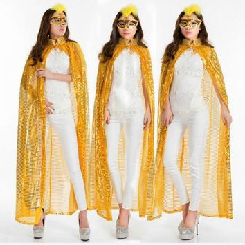 Women Halloween Sequins Cloak Solid Color Coat Magic Witches Wicca Medieval Cape Cosplay Coat Party Scary Cosplay Costumes