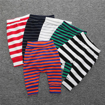 Hot 2016 Autumn Winter New Baby Pants Cotton Stripe Unisex Baby Boy Pants Baby Girl Pants Thickening Haren Pants Baby Leggings