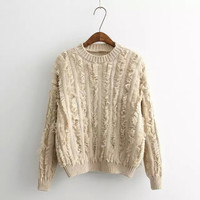 Tassel Pullover Long Sleeve Knitted Sweatshirt