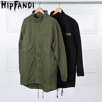 HIPFANDI 2017 Fashion  Korean Hot Sale Men's Japan Jacket Overcoat Kanye West  Long Military Style European Trench Coat Men