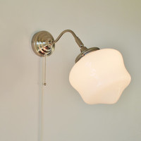 School House Sconce Lamp - Industrial Stainless Steel Gooseneck Wall Sconce - UpCycled BootsNGus Lighting