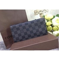 LV fashion leather spell color Men Women long wallet Boris Page Turn Wallet Black Check B