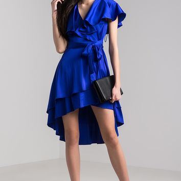 AKIRA Ruffled Plunging Wrap Front Short Sleeve Mini Dress in Royal
