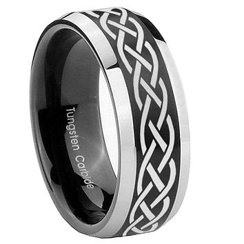 10mm Celtic Knot Beveled Brush Black 2 Tone Tungsten Mens Ring Engraved