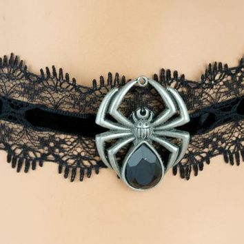 ac spbest Sexy Black Lace Choker with Black Widow Spider Pendant Gothic Jewelry Necklace