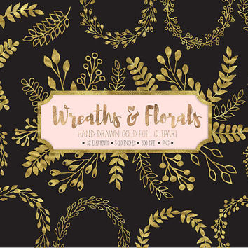 Gold Foil Wreaths & Laurels Clipart. Gold Glitter Floral Elements Clip Art. Metallic Vine Frames and Borders. Gold Glitter Branch Clip Art.