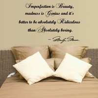 Marilyn Monroe Imperfection Is Beauty Wall Decal Decor Quote...Large Nice