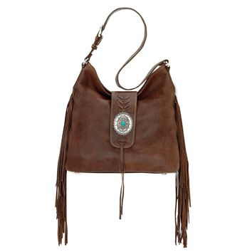American West Soft Slouchy Fringe Hobo Shoulder Bag Brown
