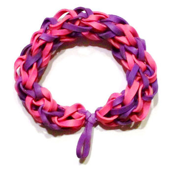Purple and Pink Rubber Band Bracelet - Also Works as Fashionable Hair Tie / Scrunchie, Great Party Favor / Gifts for Kids and Adults