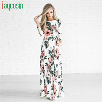 Trendy Style JAYCOSIN Floral Dress Fashion Women Girl Print Long Sleeve Boho Dress Ladies Evening Party Long Maxi Dress Gifts