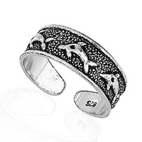 925 Sterling Silver Swimming Dolphins Toe Ring