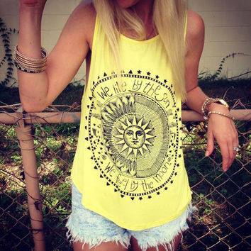 Eaby Amazon Summer Best Sellers Camisole The Sun What Disc Printing Vest Foreign Trade Sleeveless Woman 1036