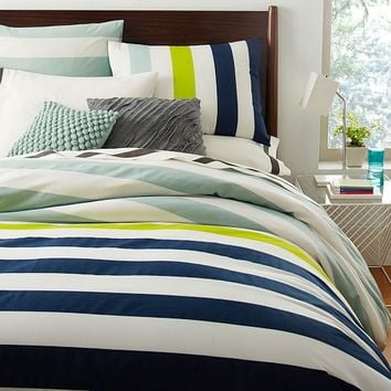 Prep Stripe Duvet Cover Shams Ink From West Elm Go To Your