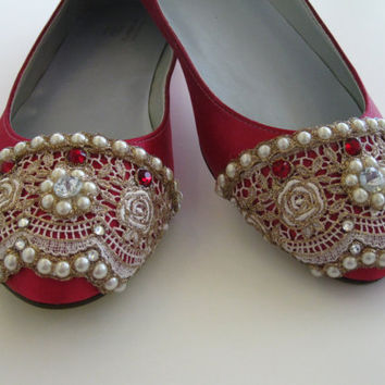 Ruby Rose Bridal Ballet Flat Wedding Shoes  Any by BeholdenBridal