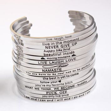 Stainless Steel Engraved Positive Inspirational Quote Hand Stamped Cuff Mantra Bracelet Bangle