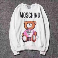 MOSCHINO Women Man Fashion Print Round Neck Pullover Sweater Top G-CN-CFPFGYS