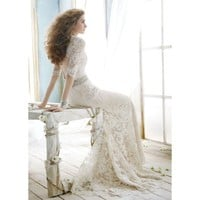 A-Line V neck Sweep Train Lace Wedding Dress
