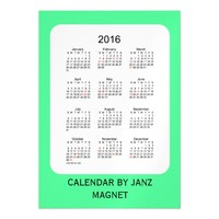 2016 Pale Green Calendar by Janz 5x7 Magnet Magnetic Invitations